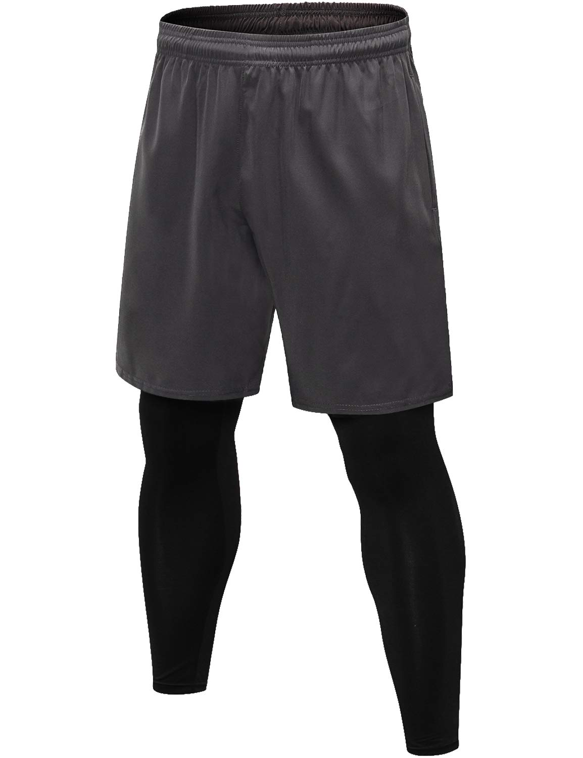 Lavento Men's 2-in-1 Running Shorts with Built-in Compression Leggings (1 Pack-3912 Gray,Medium) by Lavento