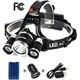 Mifine LED Headlamp - 4 Modes Ultra-Bright Outdoor Headlight with Rechargeable Batteries, Dual-port Car Charger, Wall Charger and Dedicated USB Cable