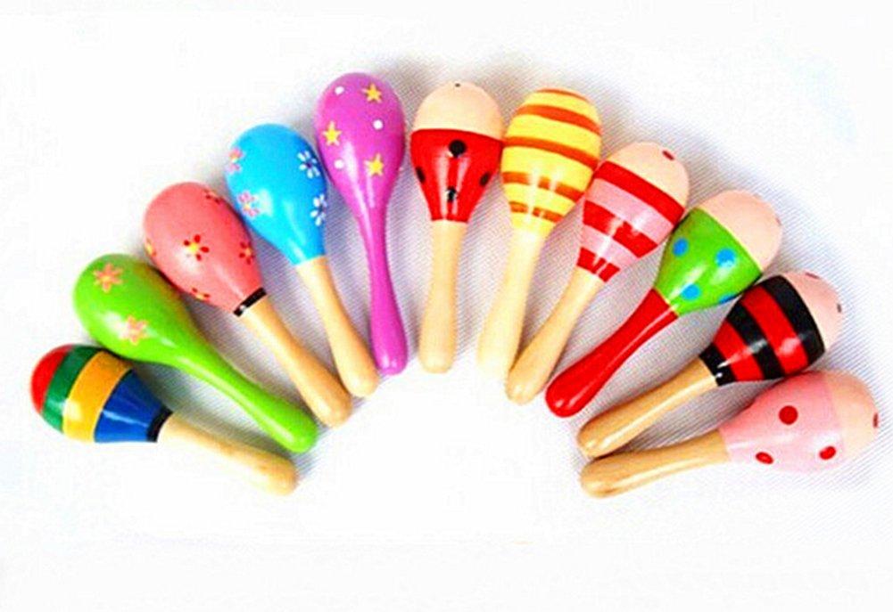 DaoRier Kids Hammer Sound-Spielzeug für Baby Holz zufällige Farbe Geschenk Kleinkind Rassel Sand musicalsand Hammer Baby Rassel Spielzeug, Holz, a, 12 cm
