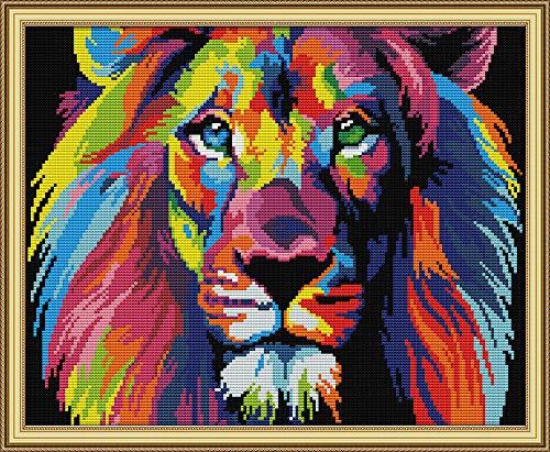 Joy Sunday Cross Stitch Kits 11CT Stamped Coloured Lion 18.9