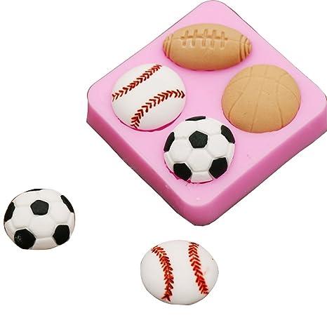 Pelotas de 4 Cavidades molde de silicona forma de Baloncesto de fútbol decoración de pasteles herramientas