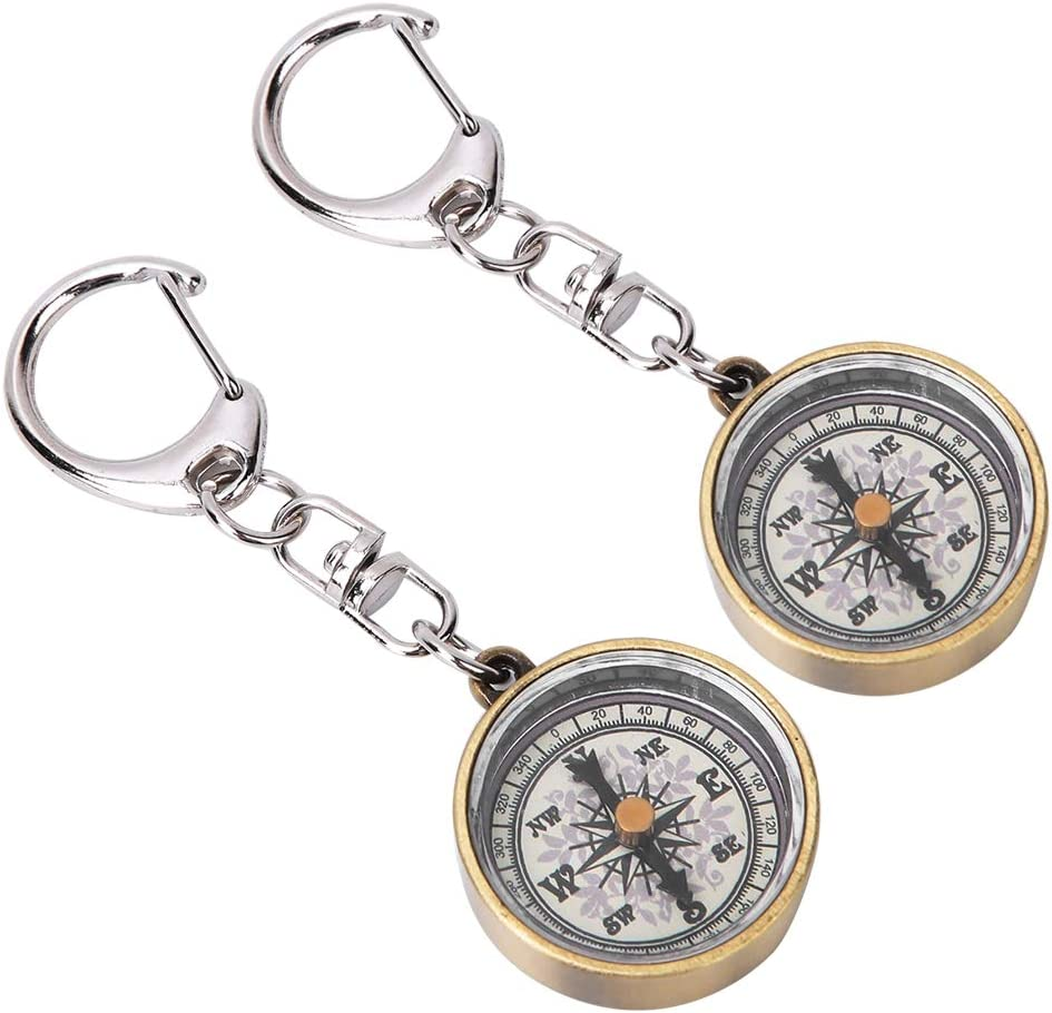 Vbestlife Pack of 2 Keychain Compass Vintage Outdoor Camping Hiking Navigation Tool Zinc Alloy Pocket Compass