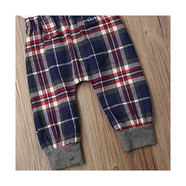 Carolilly 2 Pezzi Completo Neonato Elegante Gentleman Body Pagliaccetto Manica Lunga +Pantaloni con Bretelle Scozzesi… 7