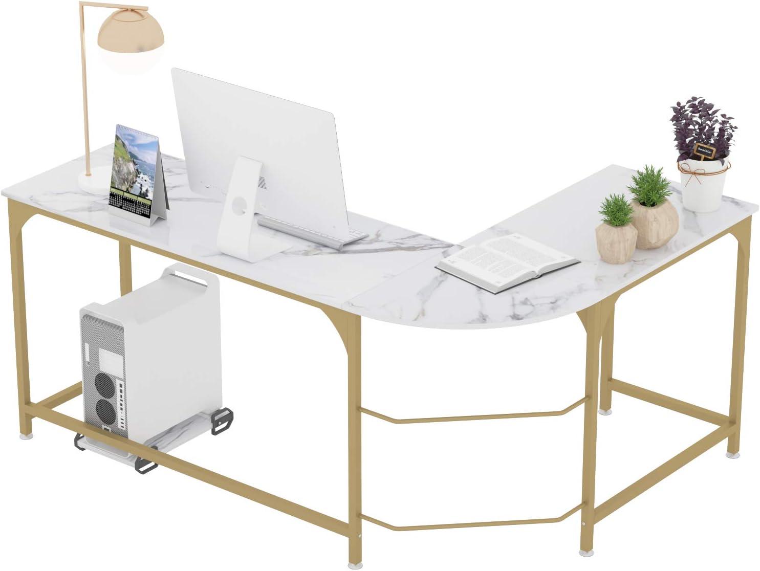 Teraves Reversible L-Shaped Desk Corner Gaming Computer Desk Office Workstation Modern Home Study Writing Wooden Table (Large, White Marbling+ Gold Frame)