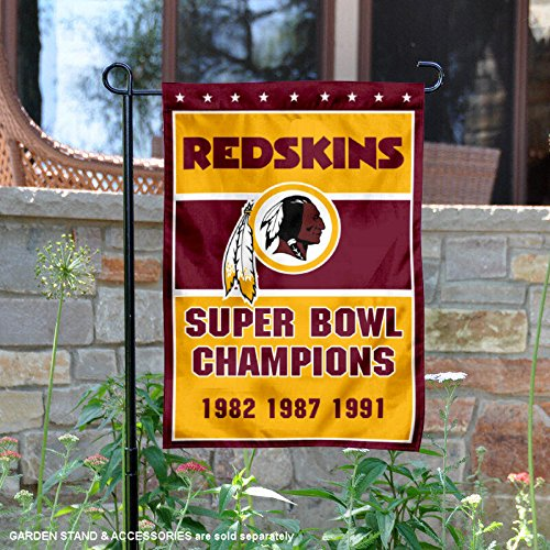 Washington Redskins Garden (Washington Redskins 3 Time Super Bowl Champions Double Sided Garden Flag)