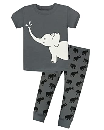 AMGLISE Kids Little Boys Elephant Short Sleeve Pajamas 2 Piece Set 100% Cotton  Sleepwear PJS a18db07a9