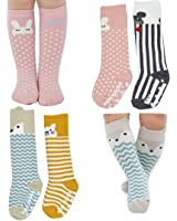 Assorted Non Slip Unisex Baby Girls Boys Toddler Cartoon Animal Cotton Knee High Socks with Stripes pack of 4( for 0-2 Years old)