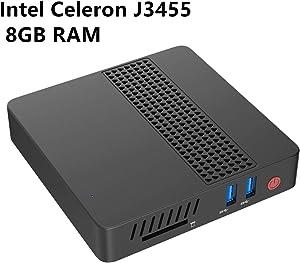 Mini PC Desktop Computer Intel Celeron Apollo Lake J3455 Processor (up to 2.3GHz),8G LPDDR4/eMMC 64GB Windows 10 HDMI&VGA HD Display 2.4G+5G Dual WiFi USB 3.0/BT 4.2 DIY M.2 NGFF SSD