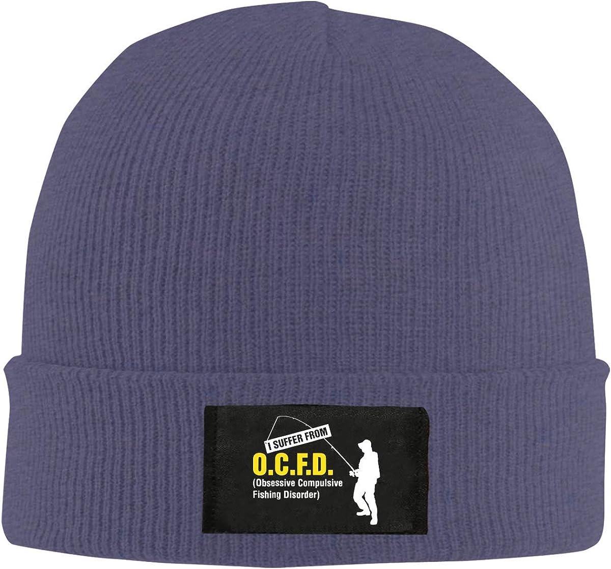 Obsessive Compulsive Fishing Unisex Warm Winter Hat Knit Beanie Skull Cap Cuff Beanie Hat Winter Hats