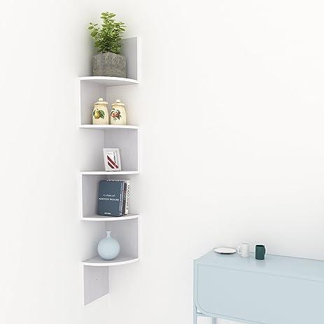 Kaluo 5 Tier Wall Mount Corner Shelves Modern Display Shelf Zig Zag Floating