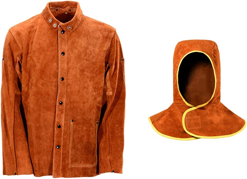 Popular QeeLink Leather Welding Work Jacket He with Seattle Mall Hood Flame-Resistant