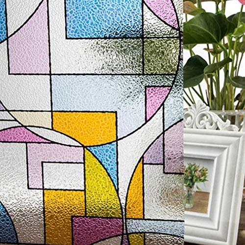 ガラスフィルム窓フィルムpvcホームプライバシーテクスチャードステインガラス保護つや消し波ウィンドウフィルム静的寝室のステッカー装飾、45×200センチ