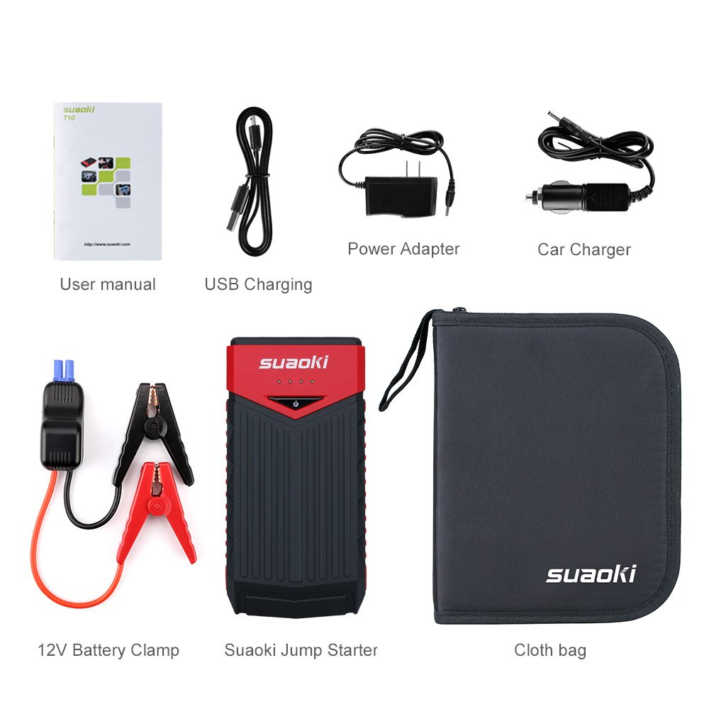 SUAOKI T10 12000 mAh 400 Amp Peak Portable Car Jump Starter Battery Booster with USB Power Bank Smart Clamp and LED Flashlight for Truck Motorcycle Boat Automotive (Red and Black) by SUAOKI (Image #7)