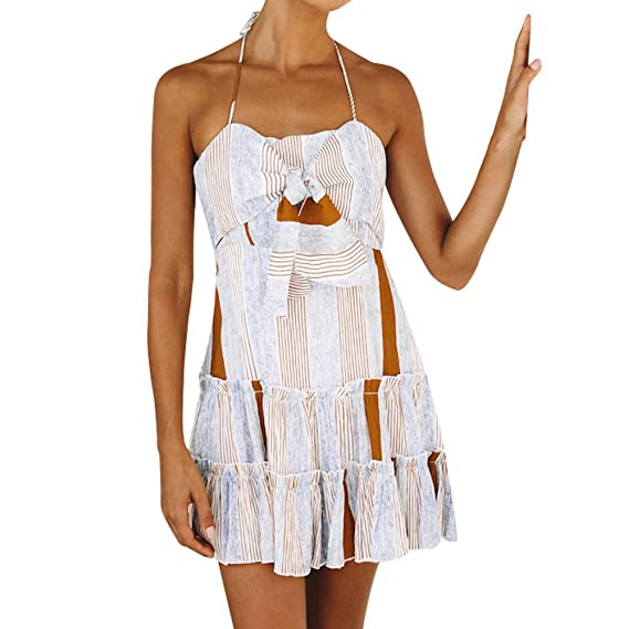 Briskorry sin Mangas Vestido con Cuello Halter Vestido de Playa Dress de Mujer Collar de una Palabra Princess Skirt con Hombros Descubiertos Falda: ...