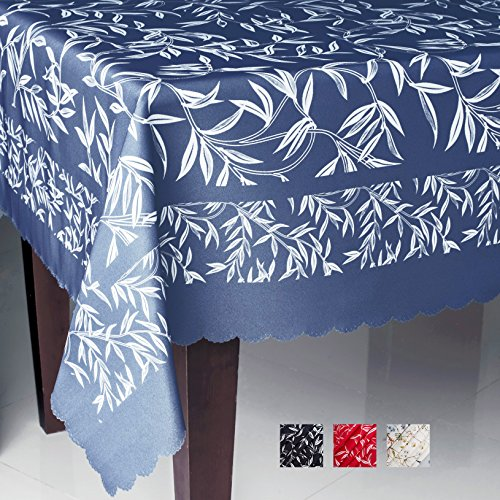 AHOLTA DESIGN Non-iron Floral Rectangle Tablecloth - Fashionable Table Cover for Home – Square Stain Resistant Table Protection Thanksgiving Christmas Dinner New Year (BLUE leafs, Rectangle 60