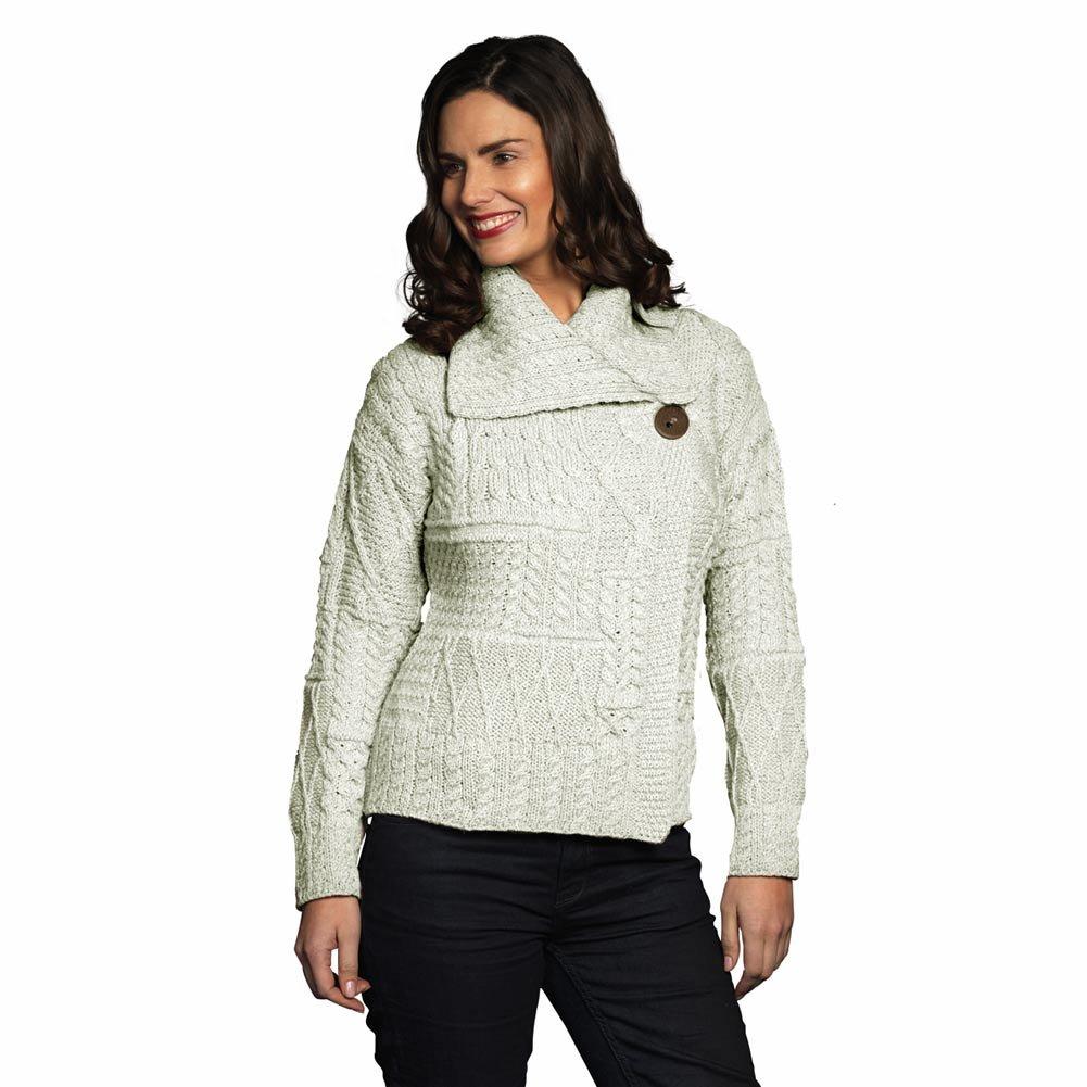 Carraig Donn 100% Irish Merino Wool Draped Collar One Button Ladies Aran Sweater by The Irish Store - Irish Gifts from Ireland