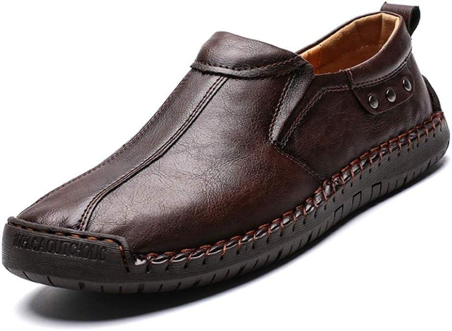 Mocasines de Cuero para Hombres Mocasines Transpirables Hechos a Mano con Punta Redonda Mocasines Planos Trabajo de Negocios Calzado de conducción Informal: Amazon.es: Zapatos y complementos