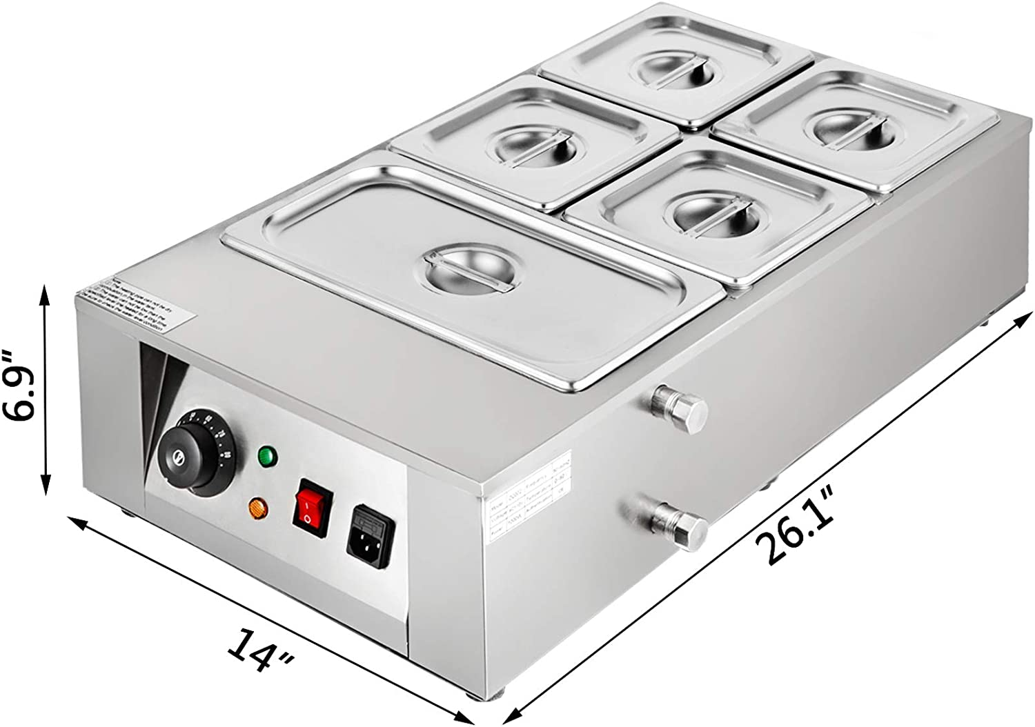 Happybuy Electric Chocolate Melting Pot Machine 6 Tanks Commercial Electric Chocolate Heater 26.45lbs Capacity Digital Control Electric Chocolate Melter for Chocolate Shops or Home