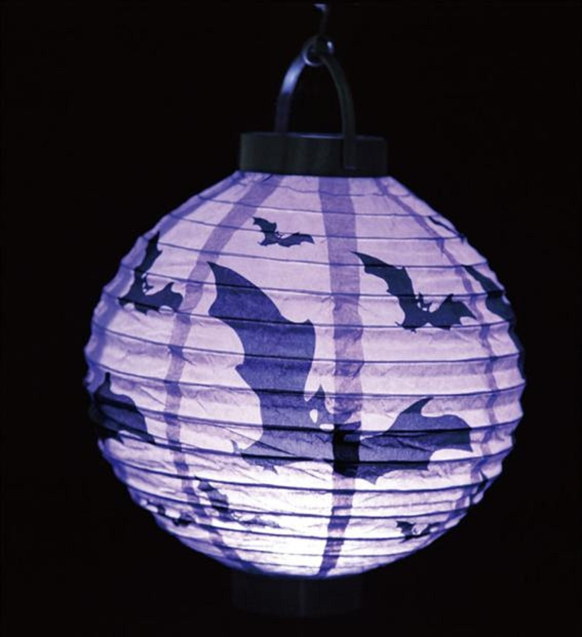 TOPUNDER Halloween Party Props Decoration Accessories Round Hanging LED Paper Lantern Pumpkin Spider Bat Hanging Light Lamp Holiday Party Decor Scary Light (Purple)