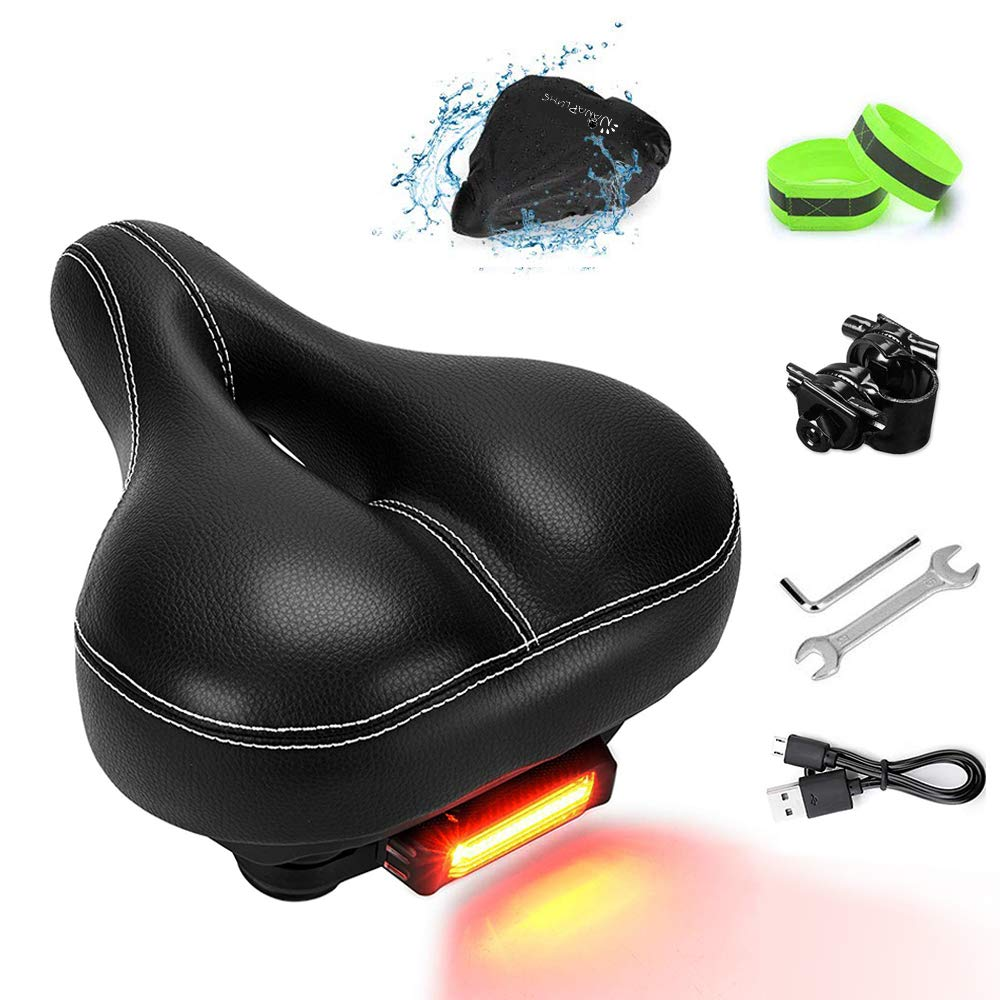Water /& Dust Resistant Cover Memory Foam Padded Leather Wide Bicycle Seats-Bike Saddle with Taillight 2 Reflective Bands and Installation Tools NANAPLUMS Bike-Seat-Cushion for Men//Women