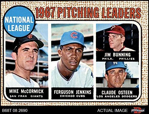 1968 Topps # 9 NL Pitching Leaders Jim Bunning/Ferguson Jenkins/Mike McCormick/Claude Osteen Giants/Cubs/Dodgers/Phillies (Baseball Card) Dean's Cards 5 - EX Giants/Cubs/Dodgers/Phillies ()