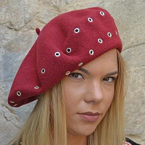 RACEU ATELIER Boina Niza Granate - Boinas Mujer - 100% Lana - Boina de Tipo Francés - Sombreros Mujer - Gorras Mujer Elegante: Amazon.es: Handmade