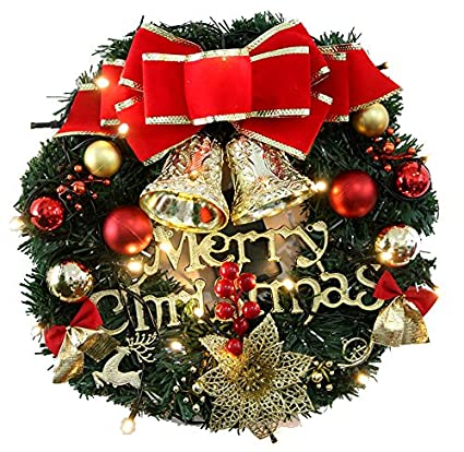 24 pre lit christmas wreath battery operated warm white lights with cones - Battery Operated Christmas Wreaths