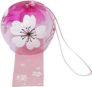 EliteShine Japanese Wind Chimes Bells Handmade Glass Birthday Home Decors (Sakura)