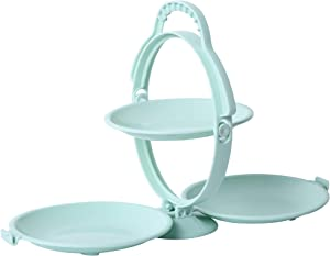 Two Tier Serving Tray, Three Candy Dish Collapsible Plastic Tiered Tray Decor Food Trays Fruit Plate Cake Cookie Snack Tray. (Green)