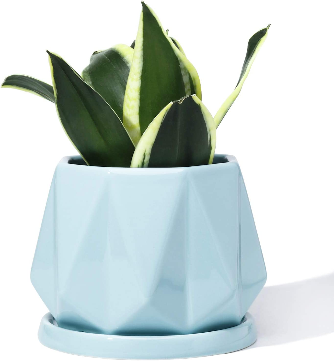 POTEY 052705 Planter Pots Indoor - 4.7 Inch Glazed Ceramic Modern Home Decor Geometric Shaped Planters Indoor Bonsai Container with Drainage Hole&Saucer for Plants Flower Aloe(Plants Not Included)