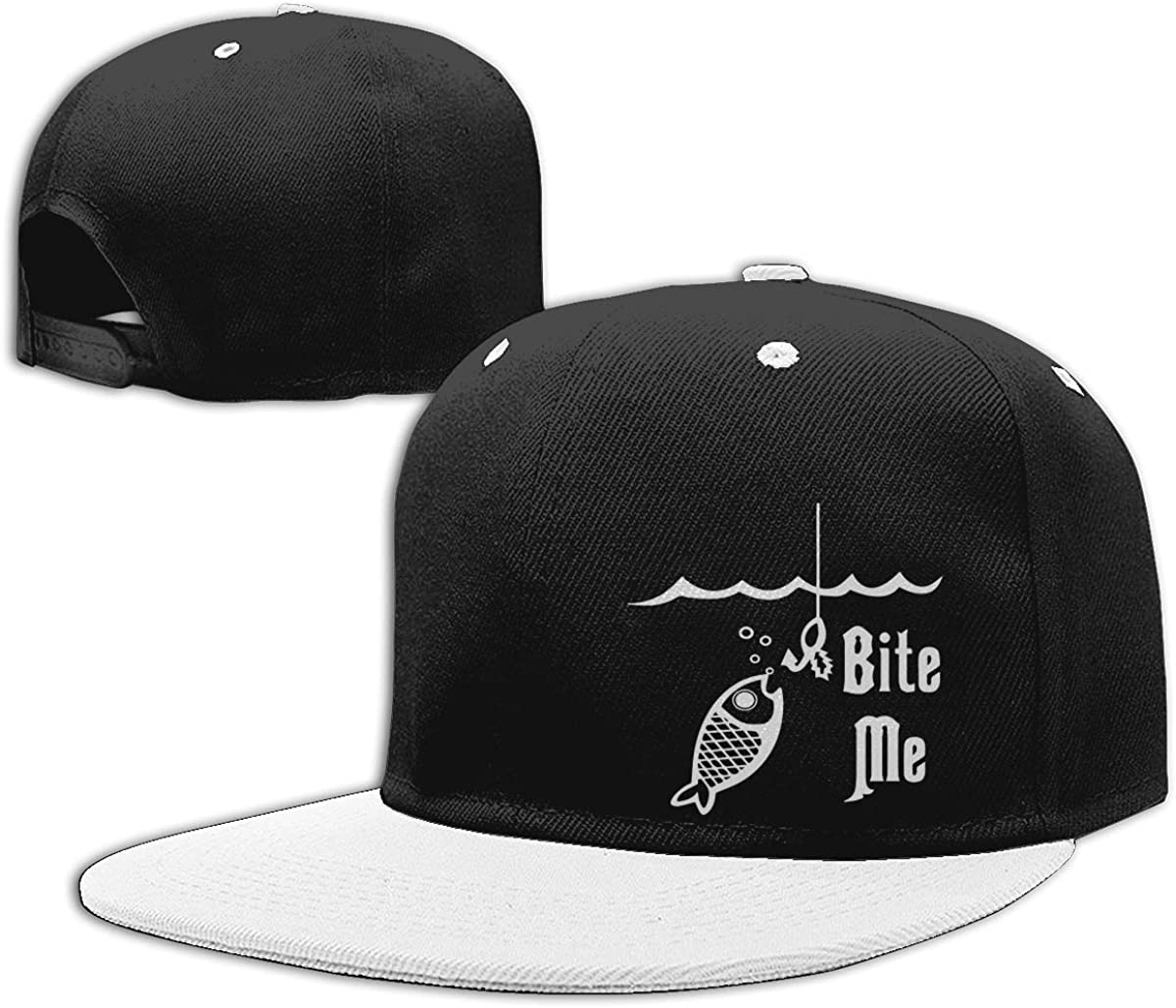 Bite Me Fish Hook Fishing Printed Flat Peaked Baseball Caps NMG-01 Men Womens Trucker Cap