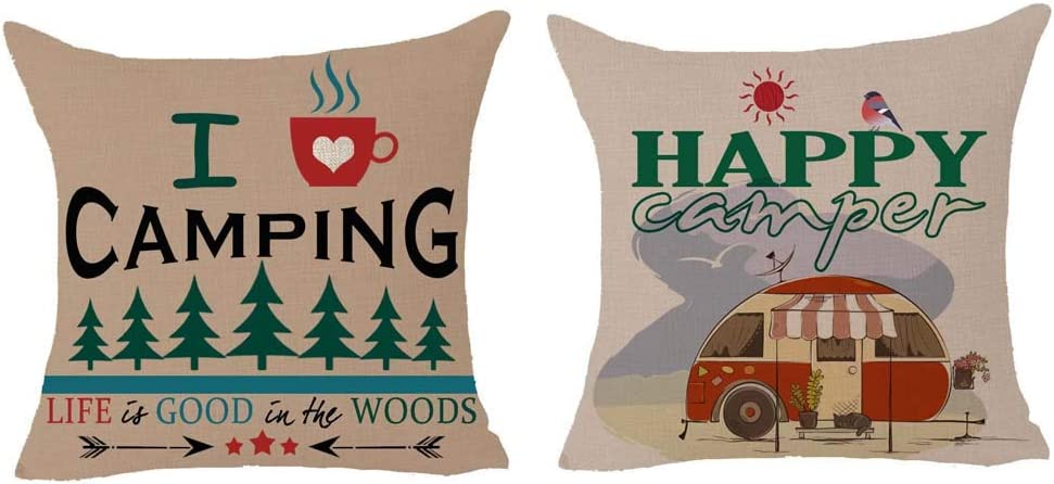 Queen's designer Words I Love Camping Life is Good in The Woods Arrow Geometric Tree Camper Retro Cotton Linen Square Decorative Home Indoor Throw Pillow Case Cushion Cover 18