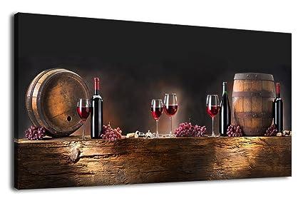 Amazon.com: Kitchen Canvas Wall Art Grapes Red Wine Bottle Oak ...