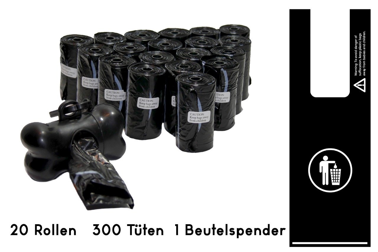 bolsasparaexcrementosdeperrocon asa, biodegradable, sin olores, resistente al desgarro, sin fragancia, negro, 300 piezas + dispensador