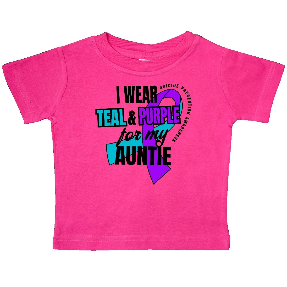 inktastic Suicide Prevention I Wear Teal and Purple for My Auntie Baby T-Shirt