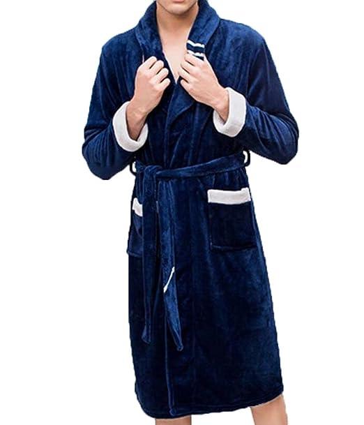 Traje De Dormir Invierno Hombres Calientes Pijamas Franela Color Puro Simple Traje De Servicio Casero,