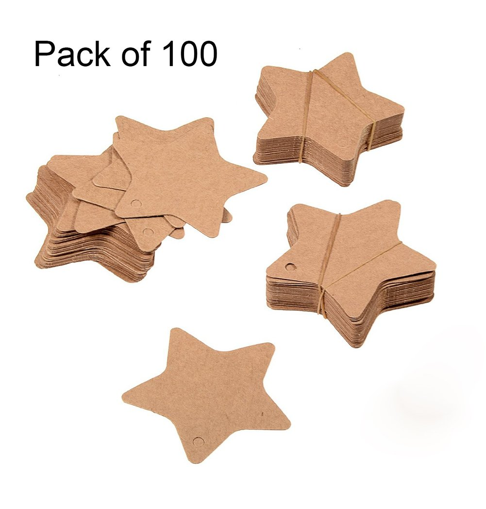 Jungen carta kraft tag Lable per tutti gli usi in Star modello 100-pack (marrone), Black, 6*6cm