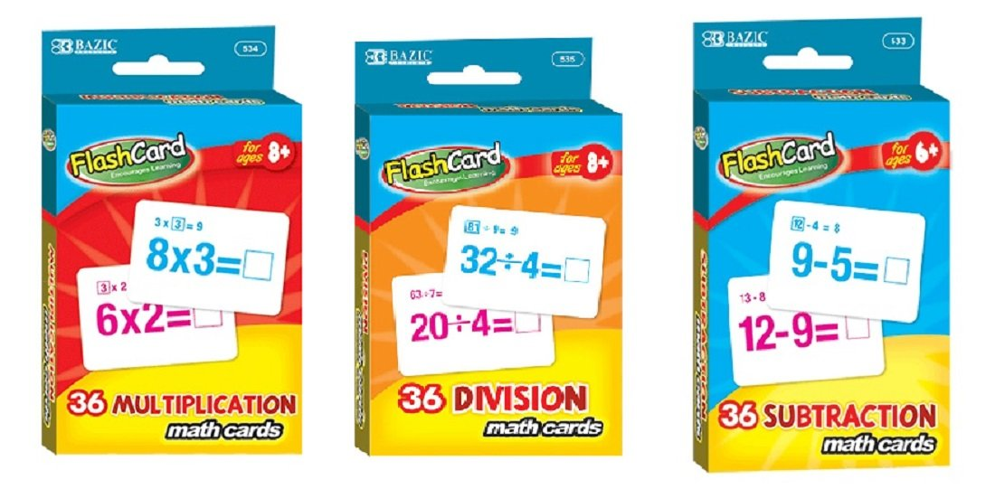 Math Multiplication Division Subtraction Flash Cards Bundle Three Sets Cards Mastery Basic Math Facts
