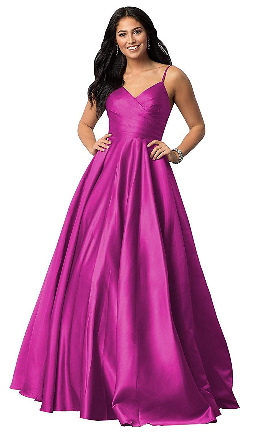 Fuchsia TTdamai Prom Dresses V Neck Satin Spaghetti Strap A Line Formal Evening Gowns with Pockets
