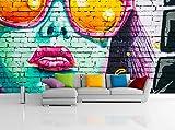 Removable Wallpaper Mural Peel & Stick Graffiti Girl (83H X 124W)