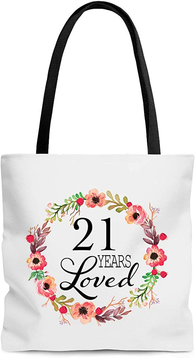 21 Years Loved Tote Bag Niece 21st Birthday Gifts for Women Girls Sister Teen Girlfriend Her 21 Year Old Present Best Unique for Daughter