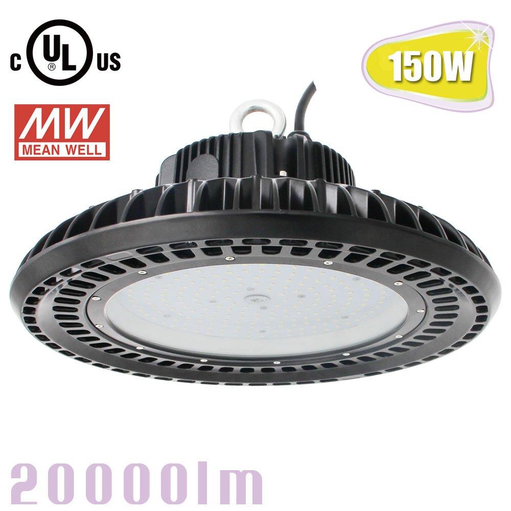 150W LED UFO High Bay Light,Replace 400Watt Metal Halide,5000K Bright White Warehouse Garage LED Lights,Meanwell Driver AC100-277V kukuppo