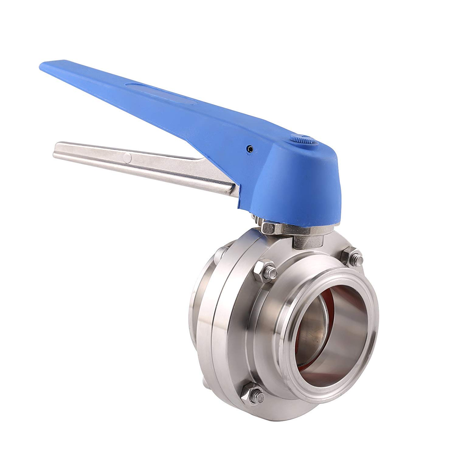 BOKYWOX 1.5'' Sanitary Stainless Steel 304 Tri Clamp Butterfly Valve with Trigger Handle and Silicon Seal