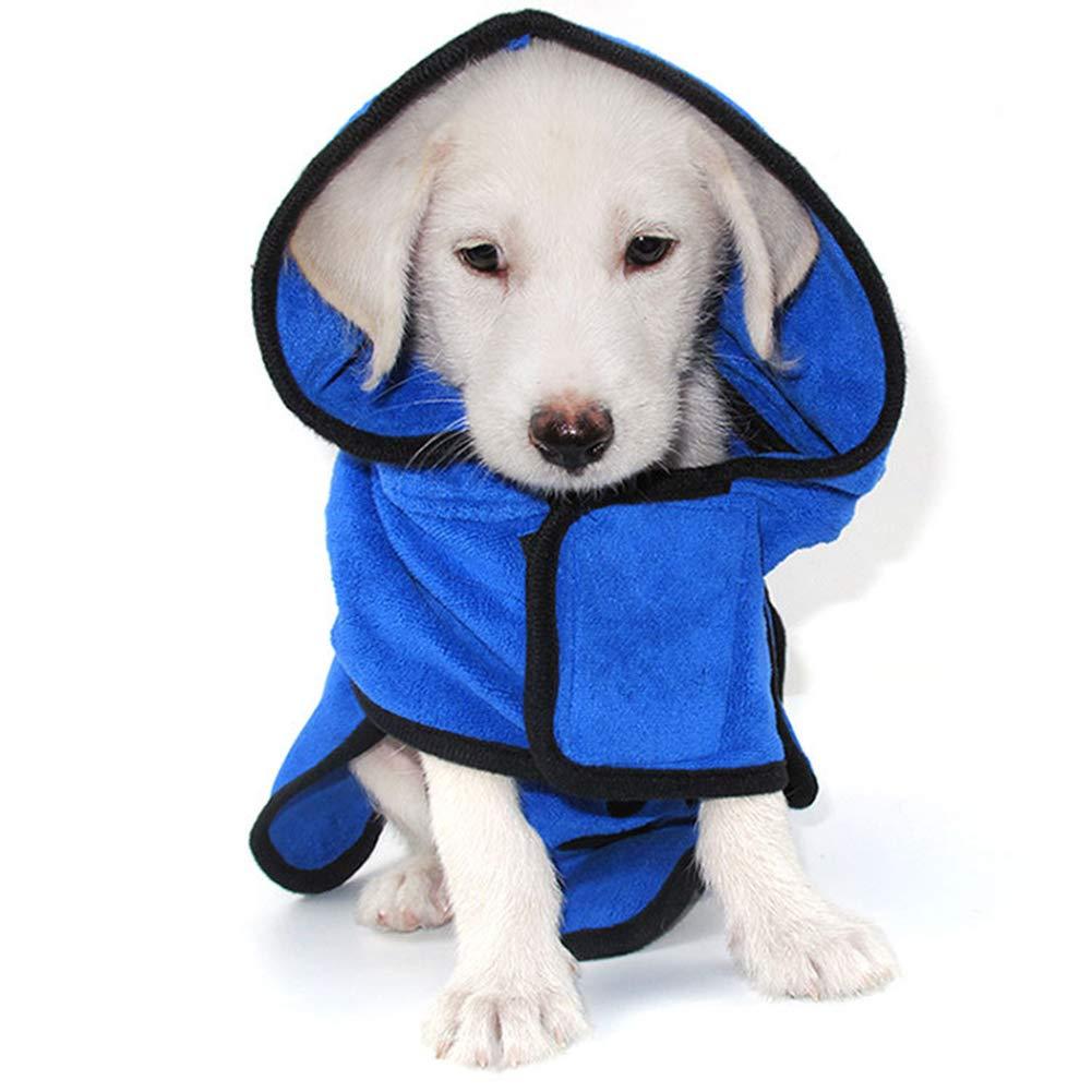 bluee X-Large bluee X-Large bromrefulgenc Dog Microfiber Bathrobe,Super Water Absorbent Quick Dry Puppy Dog Bathrobe Bath Drying Towel Pet Supply bluee XL