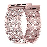 Apple Watch Bands 42mm Women Rose Gold, Handmade Bling Crystal Stones iWatch Replacement Strap, Adjustable Dressy Wristband for Apple Watch Nike+, Series 3, Series 2, Series 1, Sport, Edition