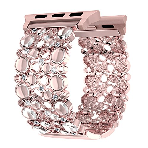 Apple Watch Band 38mm Women Rose Gold, Handmade Bling Crystal Stones iWatch Replacement Strap, Adjustable Dressy Wristband for Apple Watch Nike+, Series 3, 2, 1, Sport, Edition by Soaos