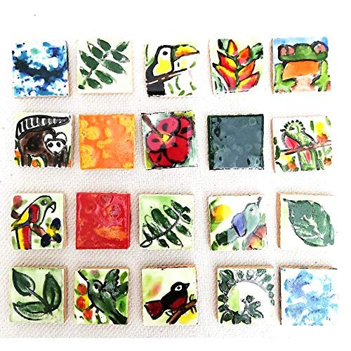 Ceramic tiles for crafts, assorted designs handpainted and inspired in Costa Rica tropical flora and faura - Set of 20 tiles size 0.98x0.98in