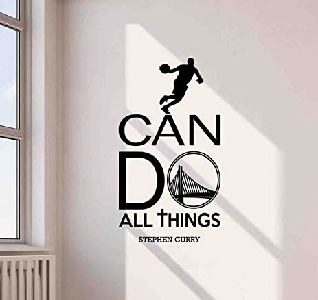 Stephen Curry Wall Decal I Can Do All Things Quote NBA Basketball Inspirational Sayings Lettering Vinyl