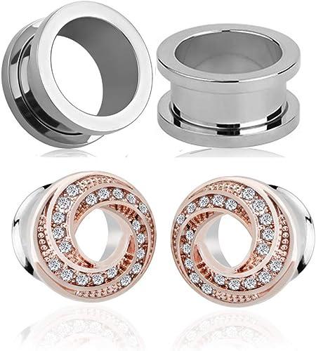 Piercing Jewelry Screw Rhinestone 4-14mm Crystal Ear Plugs Stainless Steel