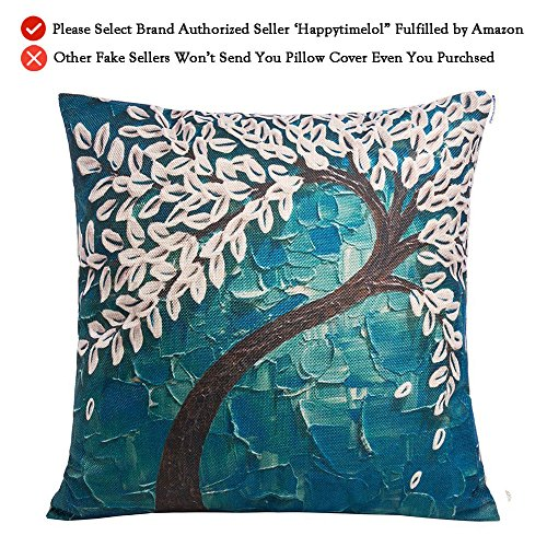 Happytimelol 18 x 18 Square Teal Oil Painting White Flower Black Tree Print Pattern Throw Pillow Cover Decorative Pillow Case (Teal Decorative Throw Pillows)